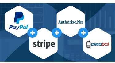 Paypal, Stripe, Authorize.net and Pesapal